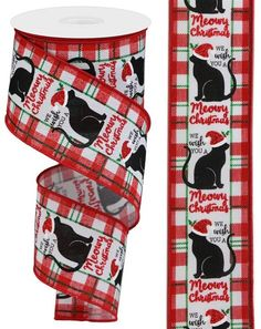 Excited to share this item from my #etsy shop: Meowy Christmas White Red Black cat wired ribbon, Meowy Christmas ribbon, Xmas ribbon, Cat xmas ribbon, kitty xmas ribbon, RGB130027 #christmas #white #waysidewhimsy Christmas Ribbon, Christmas Cats, Xmas, Wired Ribbon, Red Black, Kitty, Etsy Shop, Wreaths, Cute