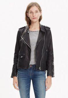 Washed Leather Epaulet Jacket