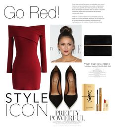 """Go Red!"" by yumary-v on Polyvore featuring moda, Chicwish, Givenchy, Maison Margiela y Yves Saint Laurent"