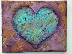 SALE Heavy Textured Modern Art Heart Love Mixed by AbstractTara, $50.00