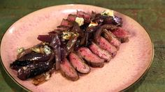 Michael Symon's Grilled Flank Steak with Blue Cheese Red Onions