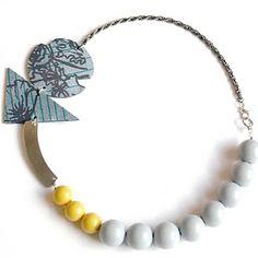 chunky grey and yellow beaded poppy necklace © kirsty kirkpatrick 2008