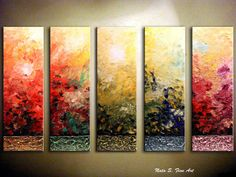 """Large 60""""  Abstract Painting.Original Modern Textured.Palette Knife.Impasto.Mixed Media.Multicolored 5 panels Ready to Hang.... by Nata S. on Etsy, $499.00"""