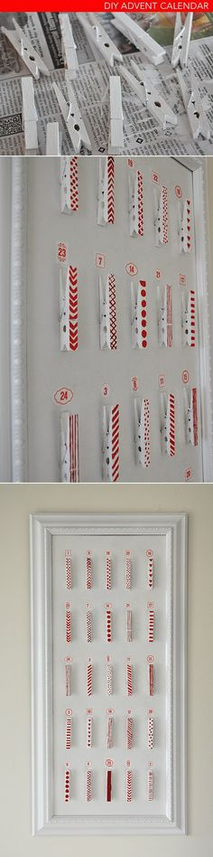 Christmas Decor: DIY (simple) advent calendar using wooden clothes pins, paint, and a discount frame. More info here. Really simple. Could also be used to hang holiday cards, and later as a calendar that holds important dates/times. Noel Christmas, Winter Christmas, All Things Christmas, Christmas Calendar, Christmas Countdown, Christmas Scripture, Burlap Christmas, Christmas Craft Projects, Holiday Crafts