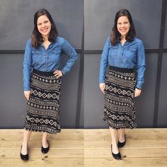 Loving my #jillskirt paired with a #chambraytop for a Tuesday #ootd! One of these days I'll actually put on makeup for these photos again :-p. #lularoe #lularoeootd #lularoemgwells #stylishskirt #patternedskirt #accordionskirt #blackflats