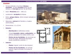 Arte Griego Art History, Uni, Science, Ancient Greek Architecture, Greek Art, Athens, Temple, Artworks, Studying