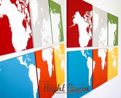 Large Colorful World Map Multi Colored Wall Art  by RightGrain, $145.00 Add push pins to everywhere I've been??