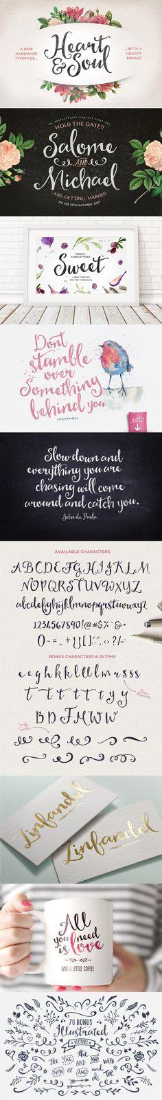 Heart & Soul Typeface. Fonts. $15.00