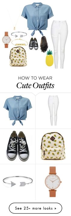 """""""Cute Back to School Outfit"""" by totoro936 on Polyvore featuring Miss Selfridge, Topshop, Converse, Bling Jewelry, Wanderlust + Co and Olivia Burton"""