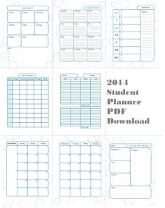 2014 student planner printable complete with daily planner meal planner class schedule pages