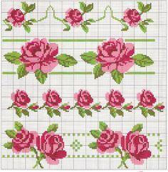 bordi rose fiori punto croce