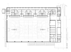 Image 12 of 40 from gallery of Sports Hall in Poznan / Neostudio Architekci. Courtesy of Neostudio Architekci Gymnasium Architecture, Stadium Architecture, School Architecture, Architecture Plan, Hall Design, Church Design, Multipurpose Hall, Basketball Court Flooring, Hall Flooring