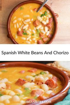 This Spanish chorizo and beans recipe can be prepared as a stew or a soup, using traditional Spanish ingredients and spicy chorizo. Chorizo Recipes, Chickpea Recipes, Vegetarian Recipes, Chorizo And Bean Stew, How To Cook Chorizo, White Bean Recipes, Bean Soup Recipes, Authentic Spanish Recipes