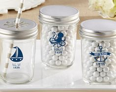 Personalized Printed Mason Jar - Kate's Nautical Baby Shower Collection (Set of 12)