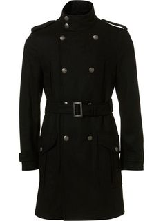 Black Wool Military Trench Coat