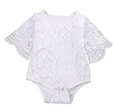 Baby Girl Ruffle Sleeve Lace Romper Jumpsuit Outfit Clothes 0-24M. For product info go to: https://all4babies.co.business/baby-girl-ruffle-sleeve-lace-romper-jumpsuit-outfit-clothes-0-24m/