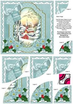 Teal Church Christmas 6in Duo Corner Stacker Card Front on Craftsuprint - Add To Basket!