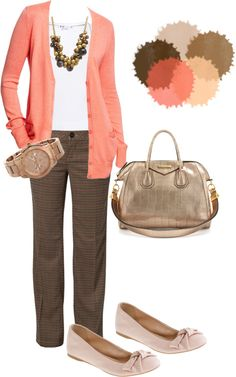 """Business Casual"" love the brown, coral & gold Work Attire Attire Outfits for Women Outfits for Men Outfit Fashion Mode, Work Fashion, Womens Fashion, Fashion Trends, Cheap Fashion, Fashion Clothes, Fashion Stores, Petite Fashion, Fitness Fashion"