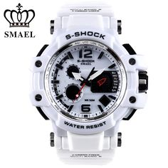 SMAEL Brand White Men Sport Watch LED Digital 50M Waterproof Casual Watch S…