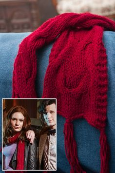 Free Knitting Pattern for Amy Pond's Pandorica Opens Scarf - Cabled scarf inspired by the one Amy wore in this Doctor Who episode. Designed by Lanea Zimmerman who did extensive research to match the look of Amy's scarf.