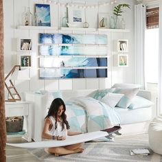 Teen Girl Bedrooms - Most exciting teenage girl room tips and tricks. Need to view sweet arrangement reference 9406501215 Girls Bedroom Furniture, Bedroom Themes, Bedroom Sets, Bedroom Decor, Surf Theme Bedrooms, Beach Room Decor, Surf Decor, Blue Furniture, White Bedroom