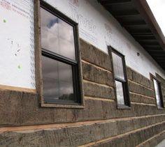 Faux Log Cabin Interior Walls Installing log siding using spacer strips Log Cabin Siding, Exterior House Siding, Log Cabin Homes, Log Cabins, Wall Exterior, Siding For Houses, Vinyl Log Siding, Log Cabin Mobile Homes, Mobile Home Siding