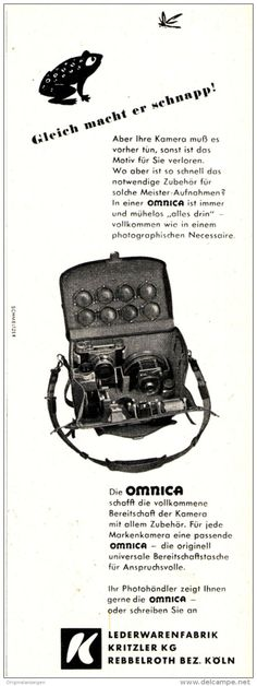 Original-Werbung/ Anzeige 1951 - OMNICA KAMERATASCHE / KRITZLER LEDERWAREN REBBELROTH - ca. 80 x 220 mm