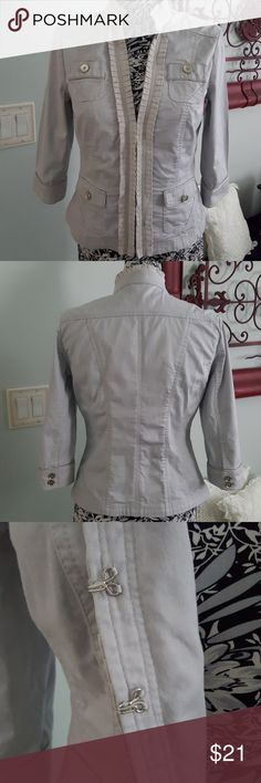Women's White House Black Market jacket Size 6 jacket by White House Black Market. Sleeves 3/4 length. Jacket was a sample so slight mark on back of jacket from the marking on inside. Price reflects. White House Black Market Jackets & Coats