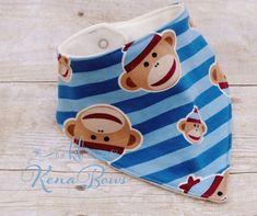 Sock Monkey Bandana Bib Blue Soft Baby Boy Bib by KenaBows on Etsy