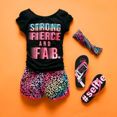 Girls' fashion | Kids' clothes | Graphic top | Leopard print shorts | Headwrap | Sandals | Performance activewear | PLACE Sport | The Children's Place