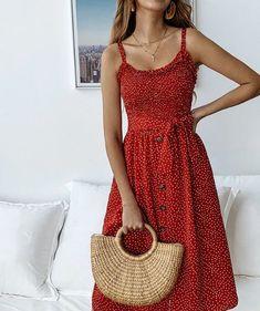 Pünktchenkleid - New Ideas Boho Midi Dress, V Neck Midi Dress, Casual Midi Dress, Midi Dress Outfit, Dress Skirt, Midi Skirt, Dress Shoes, Sexy Dresses, Cute Dresses