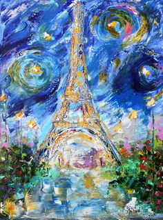 Original oil painting Paris Eiffel Tower Starry Night abstract palette knife impressionism on canvas fine art by Karen Tarlton Eiffel Tower Painting, Eiffel Tower Art, Starry Night Original, Abstract City, Abstract Images, Modern Impressionism, Fine Art Gallery, Painting Inspiration, Bunt