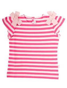 striped girls t-shirt with bows from Il Gufo