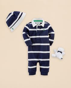 Ralph Lauren Childrenswear Infant Boys' Rugby Stripe Coverall - Sizes 3-12 Months | Bloomingdale's