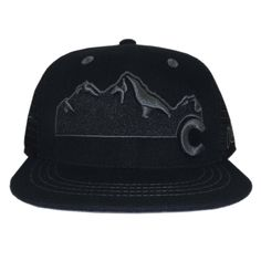 990150e91b48f Colorado Mountain Flat Bill Snapback Hat - All Black