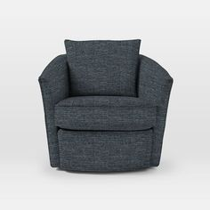 Duffield Swivel Chair, Twill, Indigo