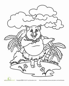 Color The Hula Pig