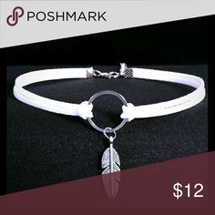 White boho leather hippy choker with feather Feather and circle are silver Jewelry Necklaces