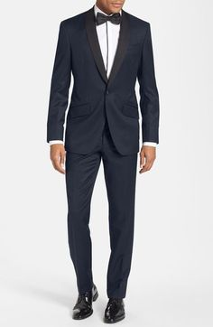 Ted Baker London 'Josh' Trim Fit Navy Shawl Lapel Tuxedo available at #Nordstrom