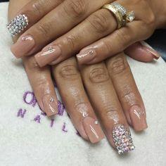 Nude, nails, acrilic, acrilic nails, organic, organic nails, acrilicas, Swarovski crystals