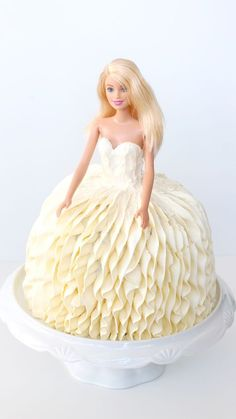 """Recipe with video instructions: You can say, """"Yes!"""" to this gorgeous wedding dress cake modeled after Vera Wang's Liesel gown. Bolo Barbie, Barbie Cake, Barbie Dress, Barbie Doll, Wedding Dress Cake, Gorgeous Wedding Dress, Wedding Cakes, Wedding Gowns, Doll Birthday Cake"""