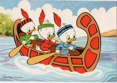 Palphot Disney Postcard 3380 Huey, Dewey, and Louie in Canoe