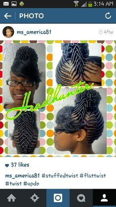 Get this amazing twist out tapered twa natural hair style. Flat Twist Hairstyles, Natural Braided Hairstyles, Flat Twist Updo, Permed Hairstyles, Black Girls Hairstyles, Braided Updo, Braids 2017, African Threading, Kid Braid Styles