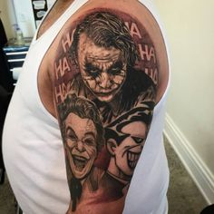 Chronic Ink Tattoo - Toronto Tattoo  Joker half sleeve tattoo completed by Martin. All the portraits are fully healed, background recently added.
