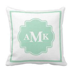 Classic Seafoam Green and White Monogram Pillow. Seafoam green and white classic style monogram throw pillow. Monogram Pillows, Pink Pillows, Pink Bedding, Monogram Initials, Custom Pillows, Decorative Throw Pillows, Luxury Bedding, Monogram Dorm, Monogram Gifts