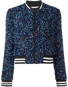 Alice+Olivia sequin embroidery cropped bomber jacket | #Chic Only #Glamour Always