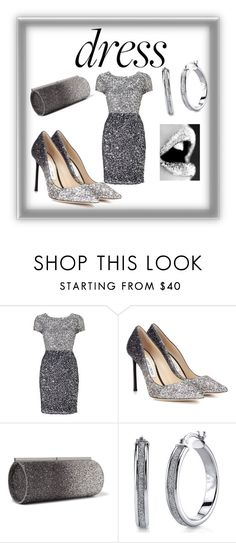 """Glitter"" by sadestewstyles ❤ liked on Polyvore featuring Adrianna Papell and Jimmy Choo"