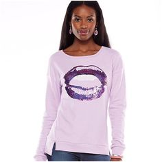 "JUICY COUTURE Purple Sequin Sweatshirt 🎉HP🎉NWT Juicy Couture Bling Lavender ""Juicy Lips"" sequin embellished soft french terry sweatshirt will elevate your casual wear wardrobe with couture! It features vented drop-tail hem, crewneck, juicy silver charm logo on back neckline, and long sleeves.  *Cotton/polyester, Hand wash  *M 8-10 (Chest 39"") *L 12-14 (Chest 41"") *XL 16-18 (Chest 44"") *Bundle Discounts, Smoke-Free, No Trades Juicy Couture Tops Sweatshirts & Hoodies"