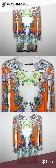 """[Roberto Cavalli] Floral Print Bodycon Knit Dress Bright and colorful knit dress. Long sleeves. Fitted. Stretch. Side slits at hem. Floral tropical print. Italian Size 38 equivalent to US size 2.   🔹Pit to Pit: 17""""  🔹Length: 33""""  🔹Condition: Excellent pre-owned condition.   *II51 Roberto Cavalli Dresses Long Sleeve"""