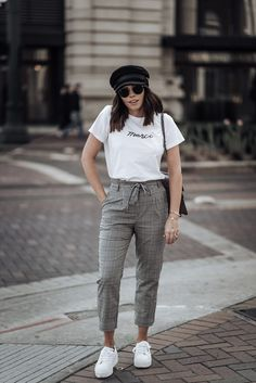 Check print Merci Beaucoup tee Check pants Topshop similar here Cap Superga Platform sneakers Gucci Dionysus Casual Summer Outfits, Stylish Outfits, Cool Outfits, Outfit Summer, Formal Outfits, Spring Outfits, Trouser Outfits, Sneakers Fashion Outfits, Gray Sneakers Outfit